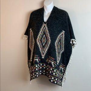 OA Aztec Tribal Tassel Sweater Poncho